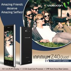 Amazing friends deserve amazing selfies! And for amazing selfies we have #Videocon Infinium Z40Quad which comes with a 3.2 MP Front Camera. Know more about it here - http://www.videoconmobiles.com/z40quad