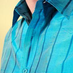 b7b268251a331 Paint the town blue with this men s silk shirt. 100% Silk dupioni shirt.  Shubrah