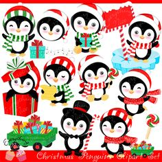 Christmas Penguins Clipart Set - Christmas Cliparts - Holiday Cliparts - Cliparts - Mygrafico.com