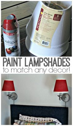 DIY home decor projects : Learn how to paint lamp shades to match any decor in your home. This fast and easy tutorial will show you the step-by-steps. Painting Lamp Shades, Painting Lamps, Spray Painting, Paint Shades, Spray Paint Lamps, Paint Lampshade, Spray Paint Metal, Spray Paint Diy Decor, Lampshade Decor