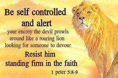 """ 1 Peter (NIV) Be self-controlled and alert. Your enemy the devil prowls around like a roaring lion looking for someone to devour. Resist him, standing firm in the faith, because you know that. Favorite Bible Verses, Bible Verses Quotes, Bible Scriptures, Bible 2, Biblical Quotes, Daily Bible, Scripture Verses, Peter 5 8, Bible Verse For Today"