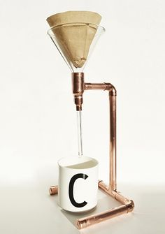 Copper Pour Over Coffee Stand , click for large Image