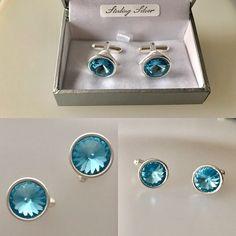 Aquamarine Swarovski Sterling Silver Cufflinks - Wedding Accessories,  £40.00