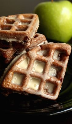 Take brunch to the next level with these apple fritter waffle donuts. Apple fritter batter is made into waffles then deep fried and covered in vanilla icing. Waffle Donut Recipe, Waffle Maker Recipes, Donut Recipes, Pancake Recipes, Waffle Waffle, Stuffed Waffle Recipe, Starbucks Recipes, Breakfast Recipes, Dessert Recipes