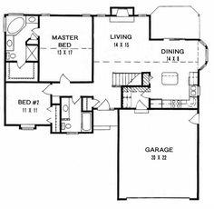 1200 sq ft - House Plan 62523 at Family Home Plans.com / Like this MBath - would move closet entry to bedroom instead of bath. I might like a circle drive with drive through carport from side to side instead of a front entrance garage.