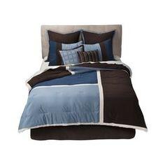 Bryant Color Squares 8 Piece Bedding Set - Blue/Brown
