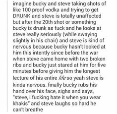 Except hasn't Bucky had a knockoff form of the serum.... so can he even get drunk?