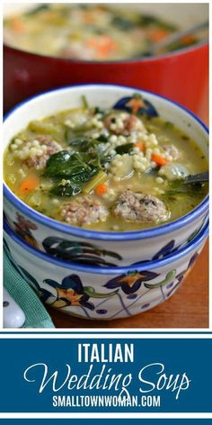 Italian Wedding Soup Soup Wedding Soup Beef and Pork Meatball Soup Beef and Pork Meatballs Soup with Spinach Acini di Pepe Small Town Woman via Slow Cooking, Cooking Recipes, Cooking Rice, Cooking Salmon, Beef And Pork Meatballs, Spinach Soup, Garlic Spinach, Italian Wedding Soup Recipe, Wedding Soup Meatball Recipe