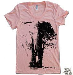 Womens Zen ELEPHANT TShirt american apparel  S M L by ZenThreads, $18.00