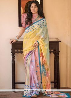 Product Features : Saree Color: Yellow and Pink Blouse Color: Peach Saree Fabric: Crepe Blouse Fabric: Crepe Saree Length: Meter Blouse Length: Meter Product Weight: kg Disclaimer: There will be slight difference in Digital to actual Image Peach Saree, Grey Saree, Chiffon Saree Party Wear, Party Wear Sarees, Indian Clothes Online, Neck Deep, Sari Dress, Saree Shopping, Wedding Prints