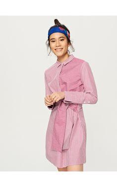 Koszulowa sukienka z wiązaniem, Nowa kolekcja, fioletowy, RESERVED