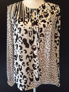 CAbi Size M Style #590 Brown Animal Print Long Sleeve Faux Wrap Blouse Top #CAbi #Blouse