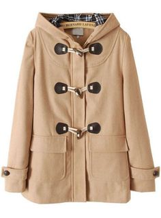 Khaki Hooded Long Sleeve Horn Button Coat EUR€30.53