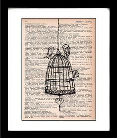 bird drawing - bird art print - birdcage - bird cage - vintage dictionary print - recycled book page