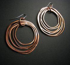 Copper Earrings - Shiny finish - Layered rings - hoop earrings - light weight. $25.00, via Etsy.