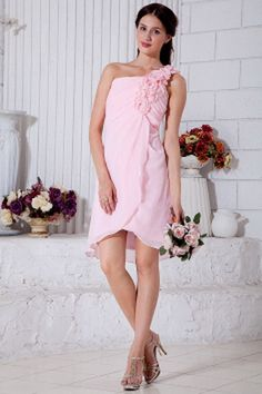Pink Empire One Shoulder Short Prom / Homecoming Dress Chiffon Hand Made Flowers Mini-length Sexy Homecoming Dresses, Cheap Short Prom Dresses, Prom Dresses Under 100, Junior Prom Dresses, Affordable Prom Dresses, Elegant Prom Dresses, Party Dresses, One Shoulder Bridesmaid Dresses, Cheap Bridesmaid Dresses