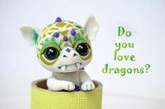 Needle felted little baby dragon. Sweet white by Fenekdolls
