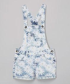 Look at this #zulilyfind! Blue & White Daisy Shortalls #zulilyfinds