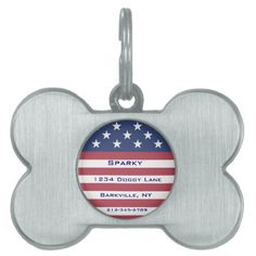Customizable Patriotic Dog Tag Pet ID Tag