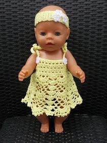 Baby Born Renate & # s crochet and so: Free crochet pattern dress and Baby Beanie doll Crochet For Kids, Crochet Baby, Free Crochet, Doll Patterns, Crochet Patterns, Diy Bags No Sew, Baby Born Clothes, Baby Pop, Baby Pullover