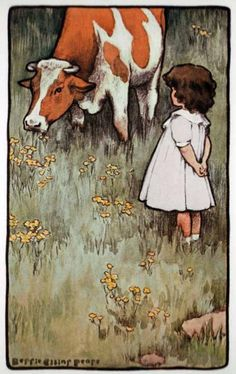"""Illustration by Bessie Pease Gutmann in A Child's Garden of Verses by Robert Louis Stevenson, New York, Dodge Publishing Company, titled """"The Cow"""". The picture is located in the front of the book and the poem can be found on pg. Bessie Pease Gutmann, Robert Duncan, Children's Book Illustration, Book Illustrations, American Artists, Vintage Children, Vintage Art, Childrens Books, Fine Art"""