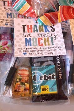 """Nurse thank you bag. Chocolate bar, Chapstick, gum, hand sanitizer, pen.   """"Thank you so very much! We appreciate all you have done to take such great care of us!  ❤️ The Craig family"""