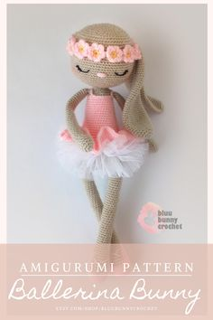 Bonnie Bunny from the series of Ballerinas, Amigurumi Crochet Patterns. This is a DOWNLOADABLE TUTORIAL. Written in English. Bunny Crochet, Crochet Animal Amigurumi, Crochet Doll Pattern, Crochet Toys Patterns, Cute Crochet, Amigurumi Doll, Amigurumi Patterns, Crochet Designs, Crochet Dolls