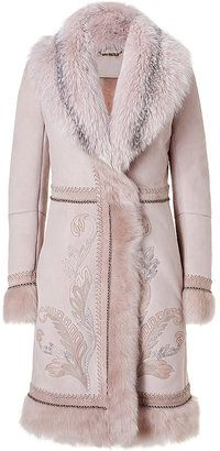 ShopStyle: ROBERTO CAVALLI Misty Rose Fur Coat with Python Embroidery