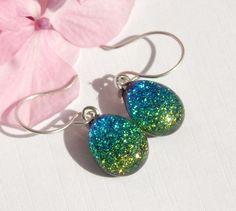 Teardrop Shape Drop Earrings - Green Dichroic Glass Dangle Earrings on 925 Sterling Silver Earwires - Fused Glass Jewelry by TremoughGlass on Etsy