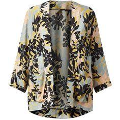 Green Tropical Print Drop Pocket Kimono (1.245 RUB) ❤ liked on Polyvore featuring kimono, new look, tops and tropical