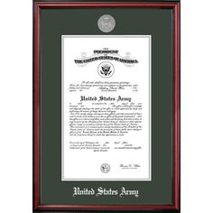 """PATF Army Certificate Petite Picture Frame Size: 8.5"""" x 11"""""""