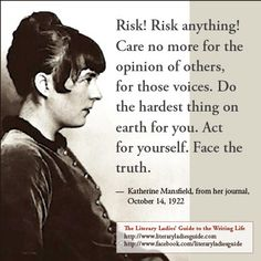 Katherine Mansfield quote on risk