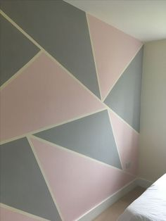 Using masking tape to create a feature wall. - Using masking tape to create a feature wall. Using masking tape to create a feature wall. Pink Gray Bedroom, Pink Bedrooms, Girls Bedroom, Gray Bedroom Walls, Comfy Bedroom, Trendy Bedroom, Girls Room Paint, Girl Room, Masking Tape Wall
