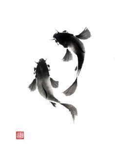 Koi (Carp) - Sumi-e (wash drawing) Japanese Ink Painting, Sumi E Painting, Chinese Painting, Chinese Art, Chinese Brush, Japanese Watercolor, Painting Tattoo, Art Chinois, Art Asiatique