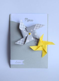 Menu moulin à vent avec marque place - baptême, communion, mariage, anniversaire - jaune, gris