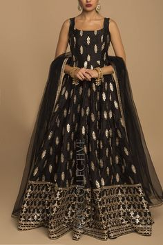 Black Gota Patti Anarkali Price: INR Black is back and how! Radiant gotapatti romances black in the most flattering outfit from our collection. Black gotawork anarkali with sheer, net dupatta. Party Wear Indian Dresses, Designer Party Wear Dresses, Indian Gowns Dresses, Indian Fashion Dresses, Dress Indian Style, Indian Wedding Outfits, Indian Outfits, Ethnic Wedding, Ethnic Outfits