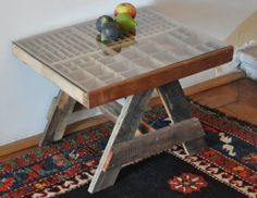 an old typographer's drawer becomes and interesting new table