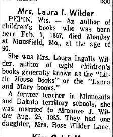 "Laura's obituary, where the Little House books are called ""Laura and Mary books"""