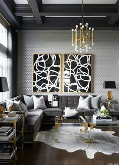 Gold and Black Living Room Ideas. Gold and Black Living Room Ideas. Gold and Grey Modern Masculine Glamour Living Room by Black And Gold Living Room, Living Room Grey, Living Room Interior, Living Rooms, Gold Grey Bedroom, Living Room Decor Gold, Black Living Room Furniture, Glamour Living Room, Gold Home Decor