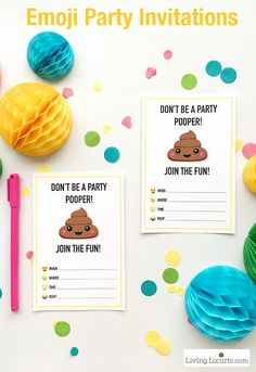 Emoji Party Ideas! Colorful Free Party Printables perfect for any Emoji Fan. Emoji Poop Invitations, Tags and Gift Wrap. Emoji birthday party fun. ~ LivingLocurto.com