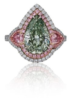 Pear-shaped Fancy Intense Green Diamond and Argyle Pink Diamond Ring Pear-shaped Fancy Intense Green Diamond and Argyle Pink Diamond Ring Popular Engagement Rings, Celebrity Engagement Rings, Round Diamond Engagement Rings, Designer Engagement Rings, Pink Diamond Ring, Green Diamond, Pear Shaped Diamond, Argyle Pink Diamonds, Ring Designs