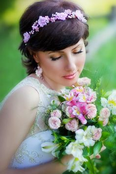 wedding flower crown, wedding tiara, flowers hair, pink crown flower, flower girl headpiece, wedding tiaras, bridal headbands, wedding bands