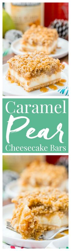 """These Caramel Pear Cheesecake Bars are inspired by """"a partridge in a pear tree"""" from the classic holiday song """"12 Days of Christmas."""" These decadent layered bars represent traditions old and new, and are perfect for sharing this holiday season!"""