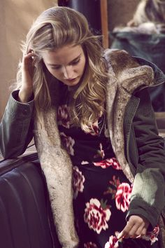 Modern Romantic | A&F Lookbook | Abercrombie.com | Floral Dress & Sherpa Parka