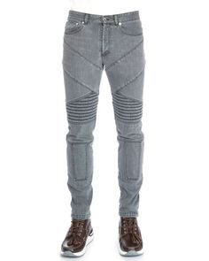 N3HAL Givenchy Slim-Fit Moto Denim Jeans, Gray $1,050