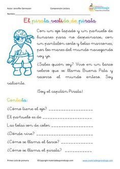 ISSUU - Fichas de comprensión lectora de Educación Primaria Spanish Class, Learning Spanish, Destiny, Middle School, Acting, Language, Classroom, Science, Journal