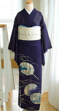 This unlined kimono (hitoe) is made of gauzy silk intended for summer wear. Its deep (but not dark) blue color and motif of scattered uchiwa fans identifies the current month as June.