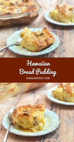 Sweet, custardy, and loaded with tropical flavors and a fruity caramel sauce, this Hawaiian Bread pudding is the stuff dessert dreams are made of Pudding Desserts, Köstliche Desserts, Delicious Desserts, Yummy Food, Cheesecake Pudding, Tasty, Hawaiian Bread Pudding Recipe, Hawaiian Dessert Recipes, Sauce For Bread Pudding