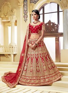 287c259f0fe1 Rajasthani brides red lehenga choli Bollywood Lehenga, Lehenga Saree, Bridal  Lehenga Choli, Sarees