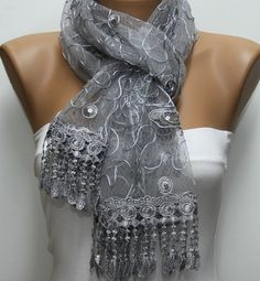 Gray Scarf  Headband Necklace Cowl with Lace Edge by fatwoman, $25.00